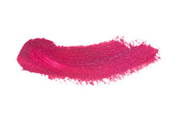 Pink color lipstick stroke on white paper Stock Photos