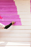 Pink color painting wall Stock Image