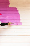 Pink color painting wall Royalty Free Stock Images