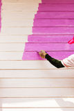 Pink color painting wall Stock Photography