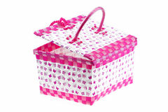 Pink color plastic basket isolated white background Stock Photo