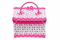 Pink color plastic basket isolated white background. Royalty Free Stock Image