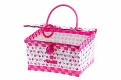 Pink color plastic basket isolated white background. Royalty Free Stock Images