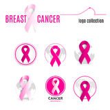 pink color ribbon in a circle logo set. Against cancer round shape logotype collection. Stop disease symbol Stock Photography