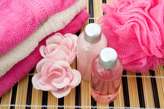 Pink colored bath accessory Royalty Free Stock Photo