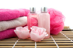 Pink colored bath accessory Stock Images