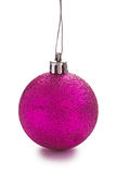 Pink colored christmas ball isolated Stock Photos