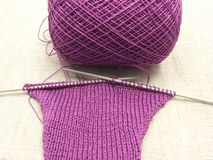 Pink colored knitting Royalty Free Stock Image