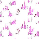 Pink colored pastel seamless pattern. Fairy forest with owls and. Seamless pattern. Fairy forest with owls and monsters. On the illustration there are pine trees Royalty Free Stock Image