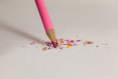 Pink colored pencil with broken tip Stock Photos