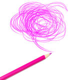 Pink colored pencil drawing Stock Images