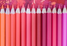 Pink colored pencils Stock Image
