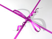 Pink-colored ribbon and bow of a gift box Royalty Free Stock Photos