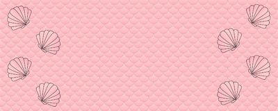 Clam shells on pink fish scale pattern background. Pink colored wide panoramic fish scale pattern background Stock Images