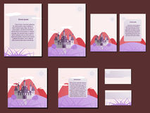 Pink colorful brochures, business cards with castle design. Nice and simple illustration Royalty Free Stock Photography