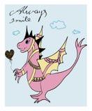 Fantastic pink dragon - greeting card `Always smile` Royalty Free Stock Photos