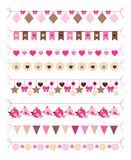 Pink colors bounting flags. And hearts and birds decorative elements on white background. Vector illustration Stock Image