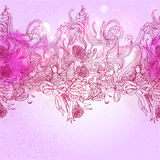 Pink colors  romance background with bird and floral elements Stock Image