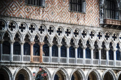 Pink columns in Venice ducal Palace. Italy Royalty Free Stock Photography