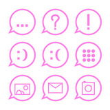 Pink communication icons in bubbles stock illustration