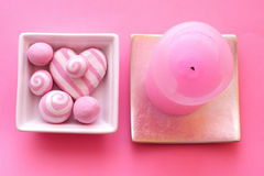 Pink composition with candle Royalty Free Stock Photos