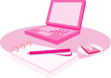Pink computer and notepad Stock Photography