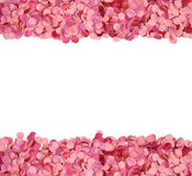 Pink confetti border. With copy space stock image