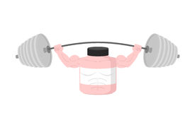 Pink Container sports nutrition  Press Overhead barbell. Vector Stock Photo