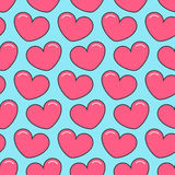 Pink contour heart Seamless Pattern. Wrapping paper, textile template. Blue background. Flat design. Stock Photo