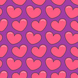 Pink contour heart Seamless Pattern. Wrapping paper, textile template. Violet background. Flat design. Vector illustration Stock Photos