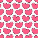 Pink contour heart Seamless Pattern. Wrapping paper, textile template. White background. Flat design. Vector illustration Royalty Free Stock Photo