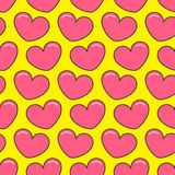 Pink contour heart Seamless Pattern. Wrapping paper, textile template. Yellow background. Flat design. Vector illustration Royalty Free Stock Images