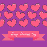 Pink contour line heart and ribbon. Print poster. Happy Valentines day text. Greeting card. Flat design. Violet background. Isolat Stock Photography