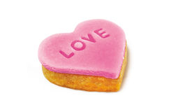 Pink cookie-heart Stock Images