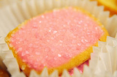 Pink Cookies. Pink sugar cookies in a tin box stock photography