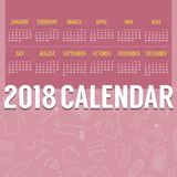 2018 Pink Cooking Stuff Lined Icon Pattern Printable Calendar Starts Sunday Stock Image