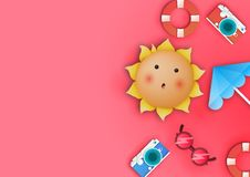 Pink copy space summer. Copy space on the summer theme. vector