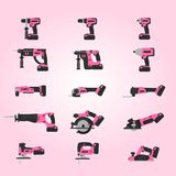 Pink cordless power tools set Royalty Free Stock Photo