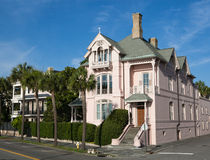 Pink Corner Mansion, Battery Park, Charleston SC. This pink, corner mansion on lower East Bay Street is one of the scenic, historic antebellum homes in Battery Stock Photography