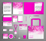 Pink corporate identity set with floral pattern. Stock Photos