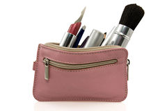 Pink cosmetic bag. On a white background Stock Image