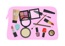 Pink cosmetic bag with flat design colorful cosmetic products -. Vector illustration Stock Photography