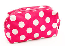 Pink cosmetic bag isolated on a white Royalty Free Stock Photo