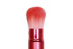Pink cosmetic brush in white background Royalty Free Stock Photo
