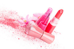 Pink cosmetic still life. Stock Photography