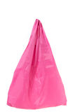 Pink cotton bag on white background Stock Image