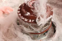 Pink cotton candy fairy floss being spun Royalty Free Stock Images