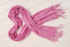 Pink cotton scarf with fringe Royalty Free Stock Photos