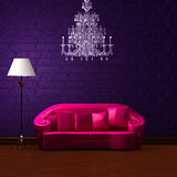 Pink couch in dark purple min. Pink couch with empty frame and standard lamp in dark purple minimalist interior Stock Photography