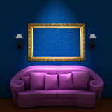 Pink couch with empty frame and sconces Royalty Free Stock Images